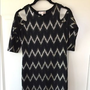 Eight six cold shoulder black and silver dress